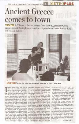 Press cutting - Jeff Teare and Lysistrata featured in The Hindu newspaper